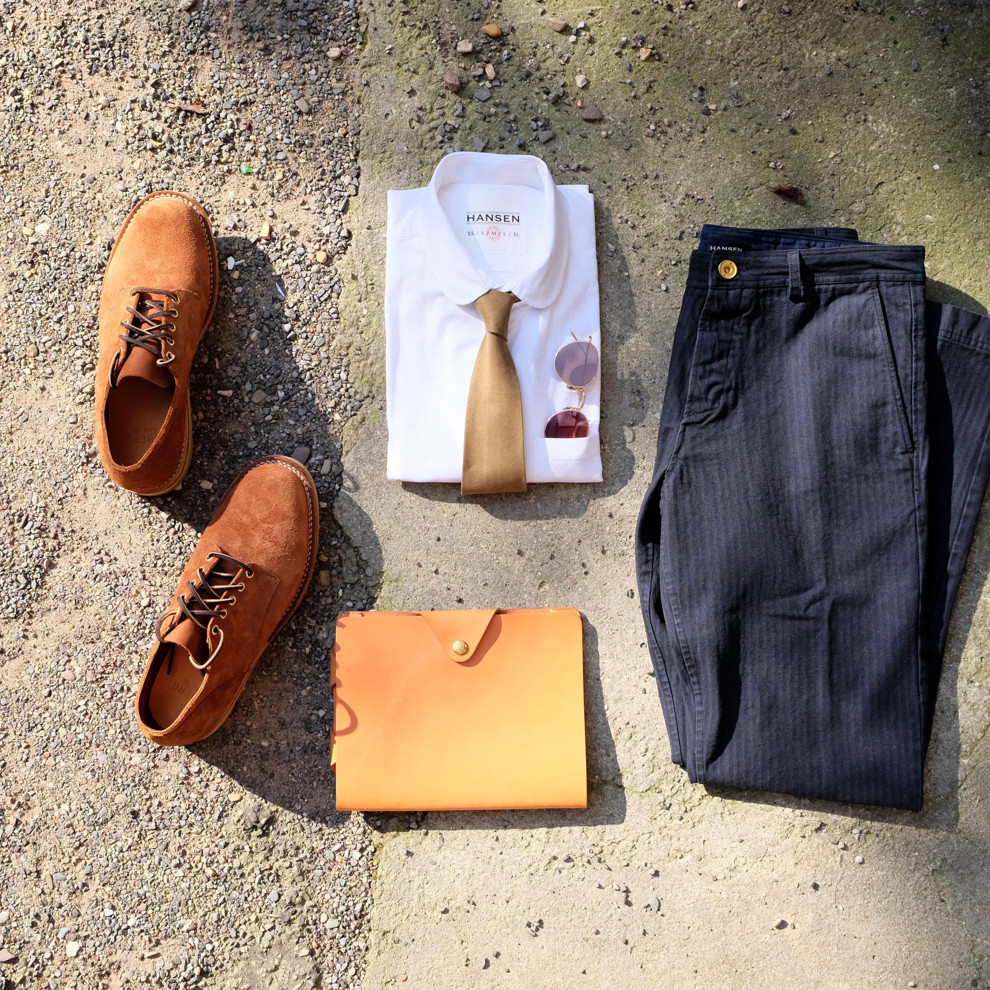 outfit-hansen-hemd-hose-herringbone-viberg-oxford-eyevan-superior-labor