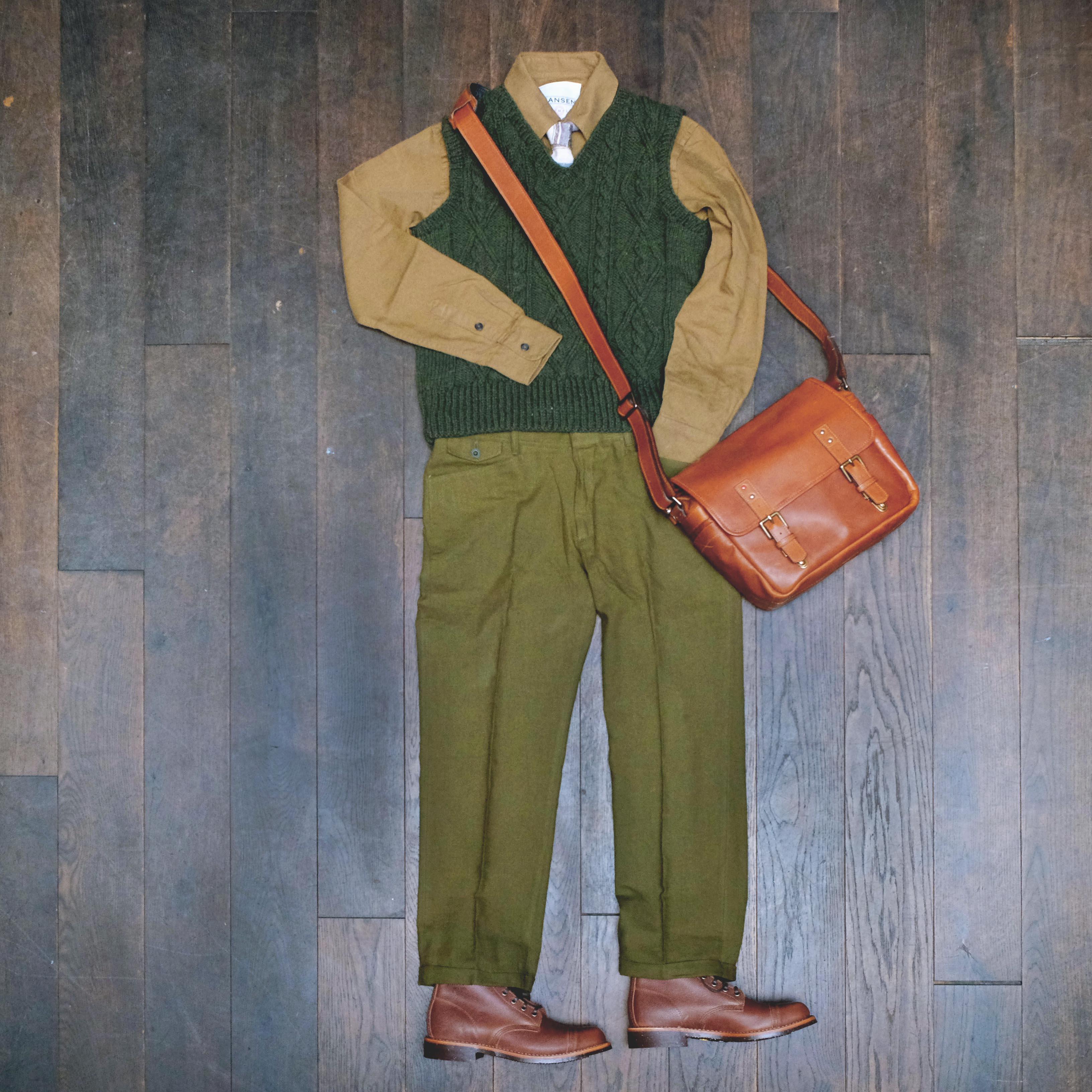 outfit-wochenende-interbrigade-strick-pollunder-hansen-hemd-shuttlenotes-chippewa