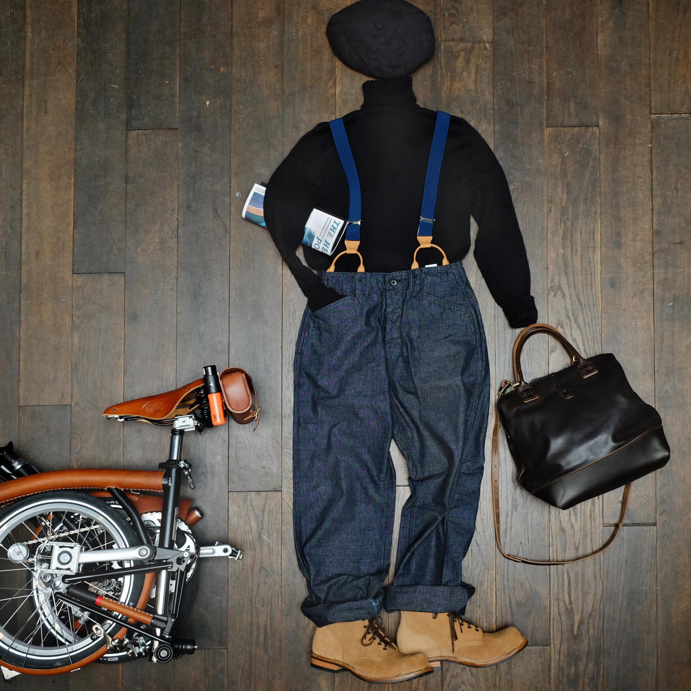 rollkragen-pulli-in-der-hose-hosentraeger-brompton-barett-ca4la-fahrrad-blacksign-billykirk-tasche-outfit
