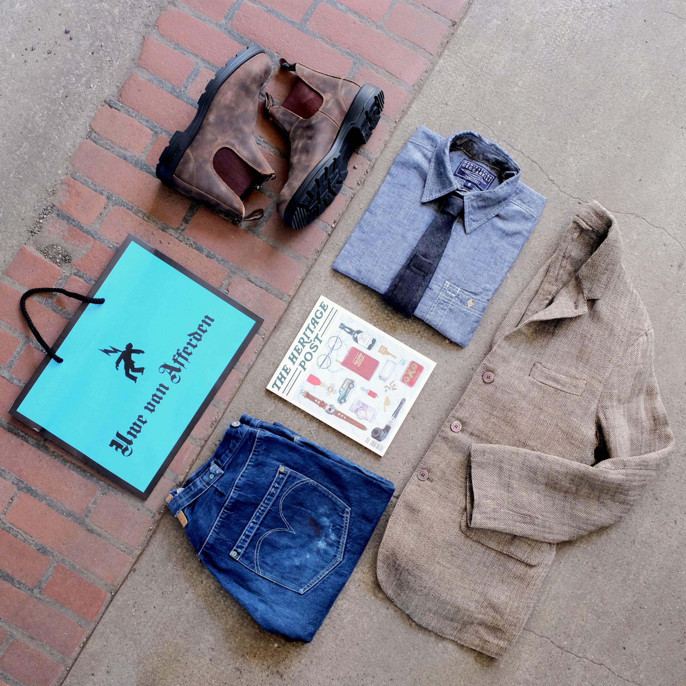 outfitderwoche-jeans-denim-leinen-sakko-ceccarelli-chambray-hemd-maxrohr-krawatte-blundstones-uwevanafferden-theheritagepost