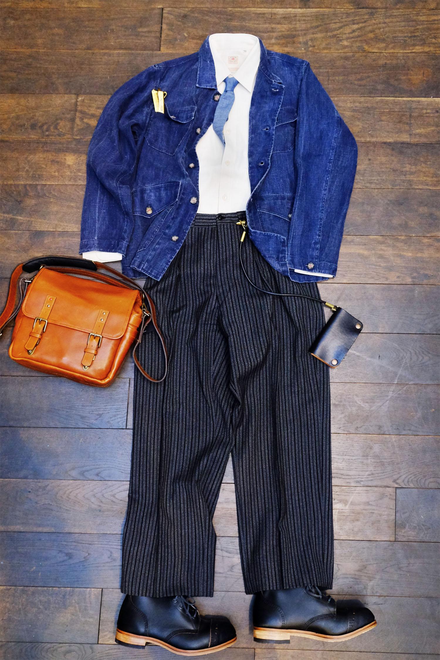 outfit-workjacket-stresemann-hose-krawatte-chambray-sugarcane-gallamini-vintage
