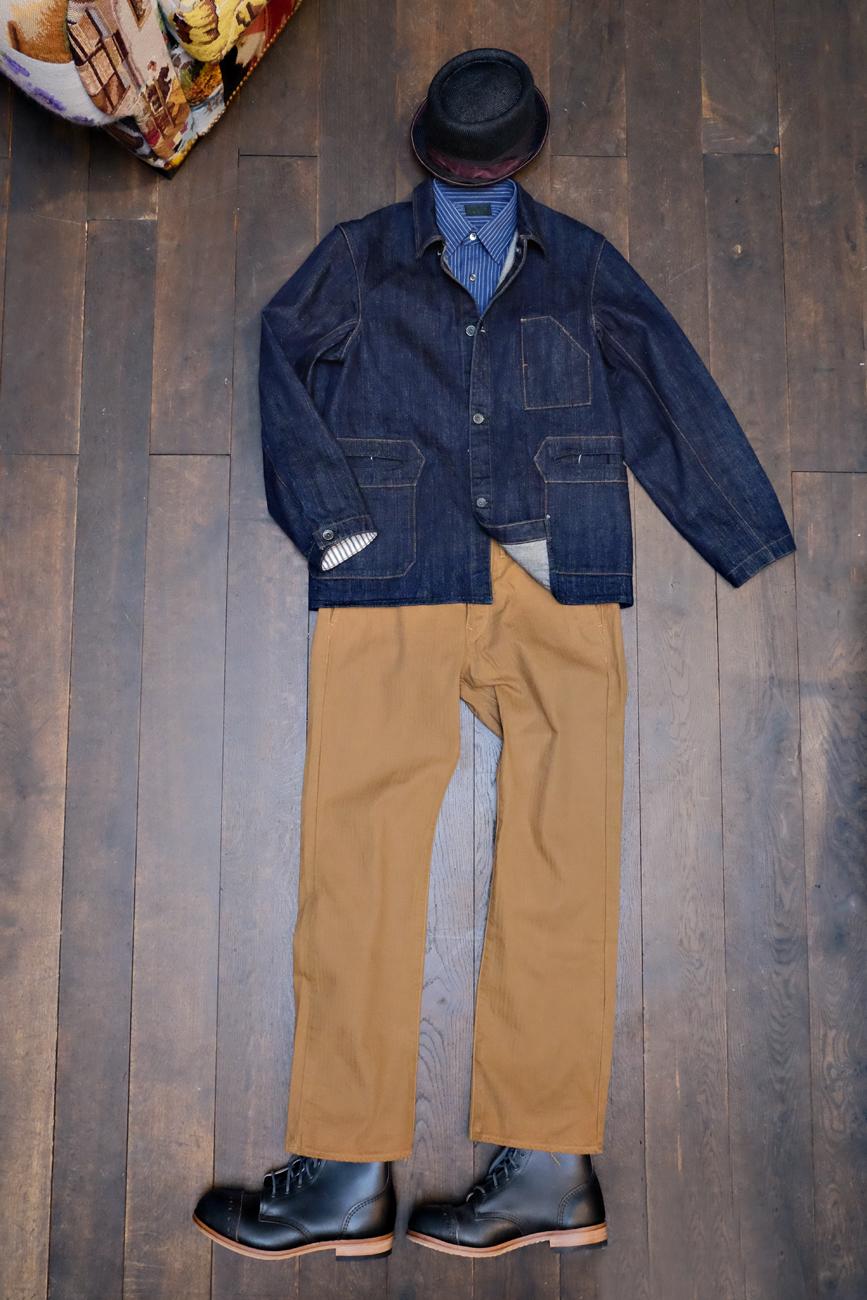 outfit-blacksign-jeansjacke-denim-orgueil-chino-hose-stevenson-overall-hemd-indigo-streifen