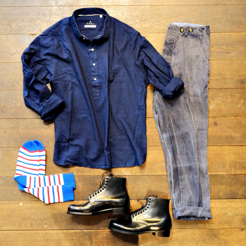 outfit-ermannogallamini-leinenhose-blacksign-stiefel-parajumper-boots-abcl-japan-leinenhemd-wildwerk-socken-streifen
