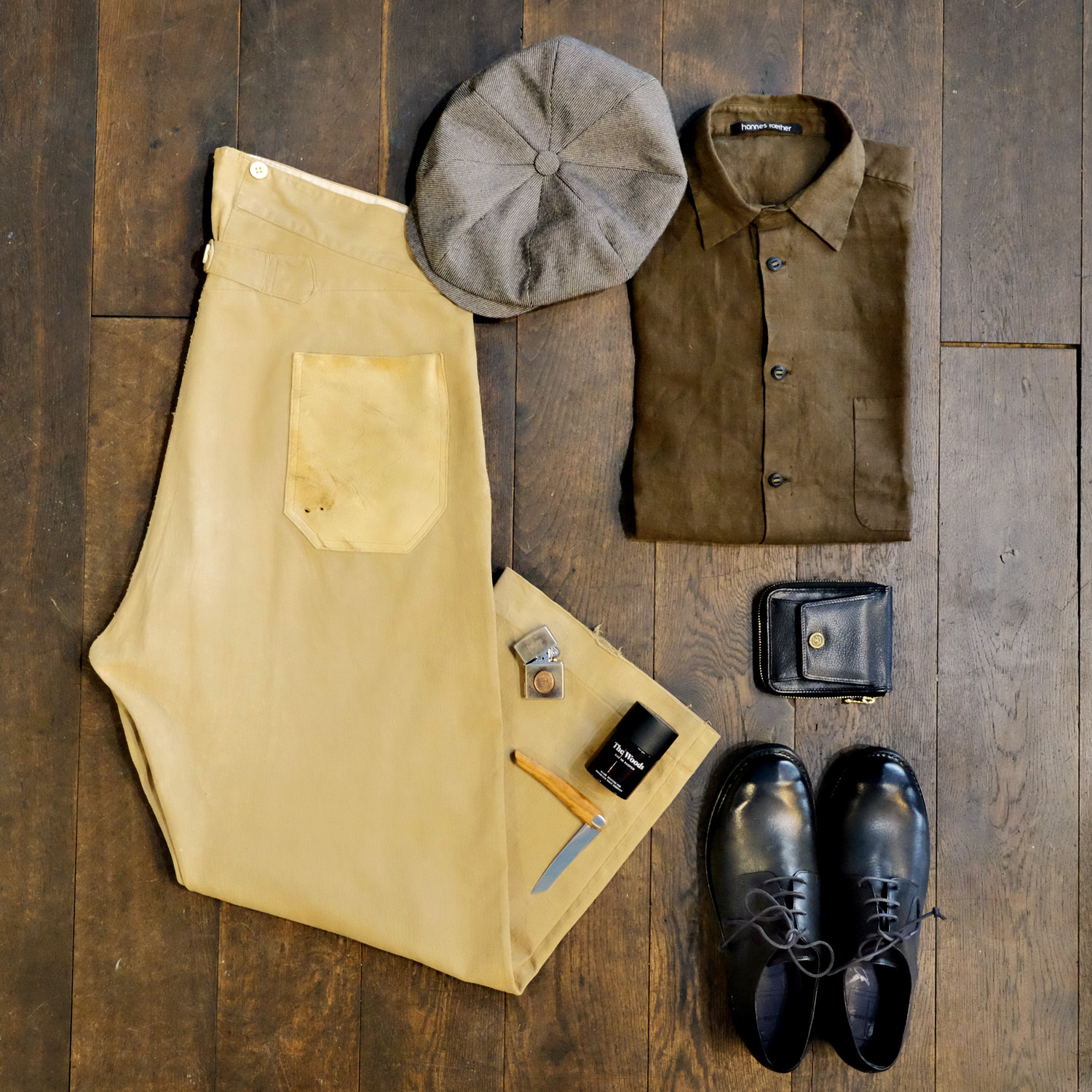 outfit-vintage-chino-frankreich-hannesroether-leinenhemd-braun-thelastconspiracy-thewoods-parfum-blacksign-kamm-perceval-messer-diefenthal-kappe