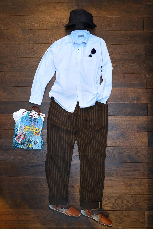 outfit-der-woche-stevenson-overall-hose-kennethfield-hemd-interior-post-sardinen-scha-papierhut-avarcas