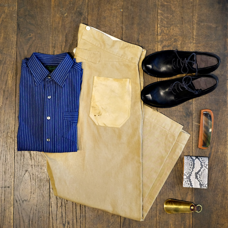 outfit-vintage-chino-sommer-thelastconspiracy-schuhe-stevensonoverall-hemd-indigo-superiorlabor-schuhlöffel-timeless-wallet-ondura-kamm