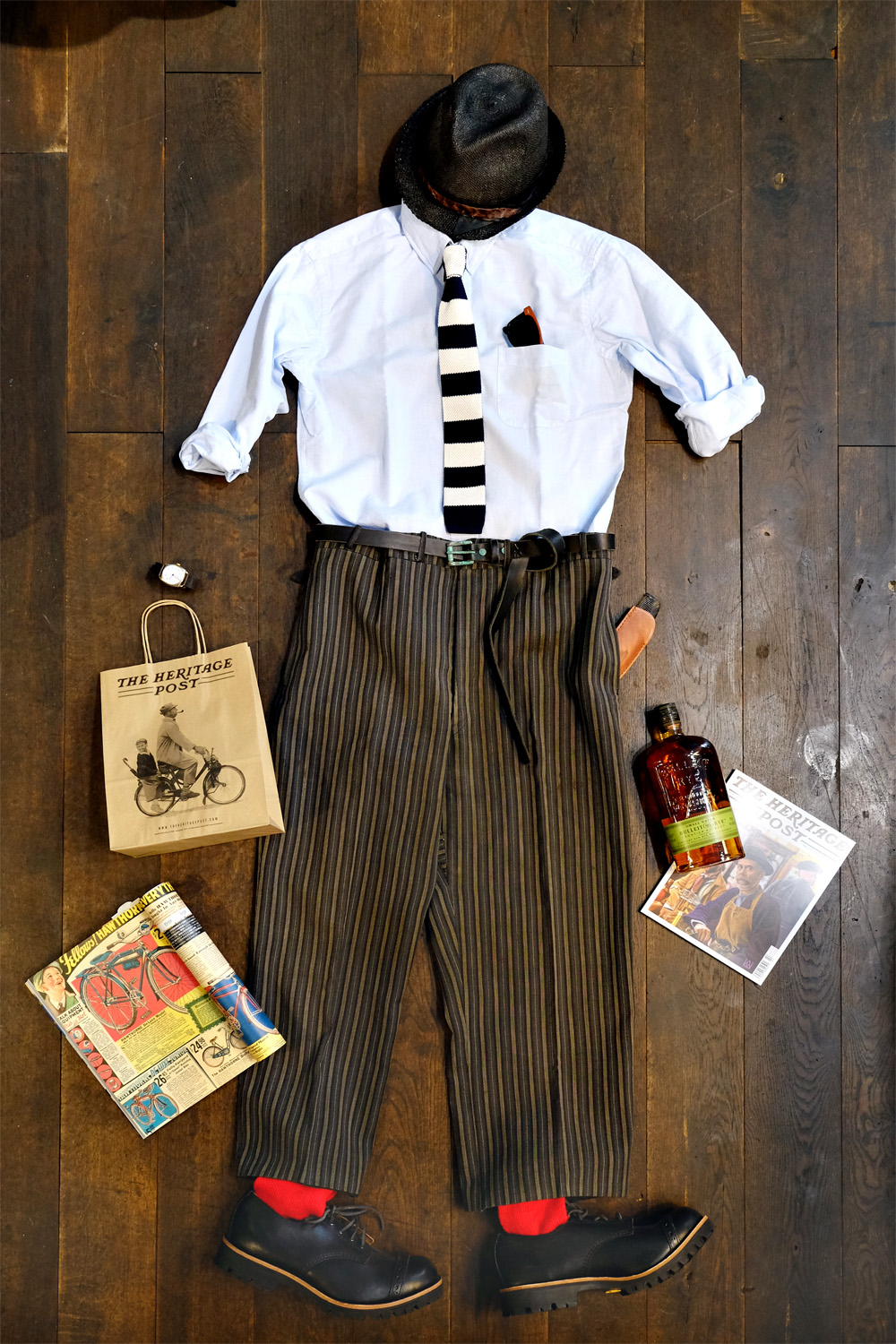 outfit-der-woche-kenneth-field-hemd-vintage-stresemann-hose-interbrigade-pepe-rotesocken-moveroma-theheritagepost-bulleit-whiskey