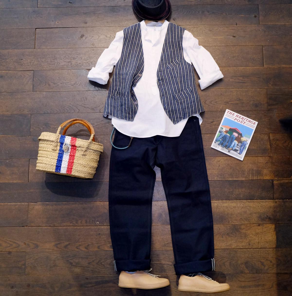 outfit-der-woche-stevensonoverall-duckcanvas-kushnir-hemd-man1924-weste-streifen-moveroma-porkpie-theheritagepost-seegrastasche-buttsandshoulders