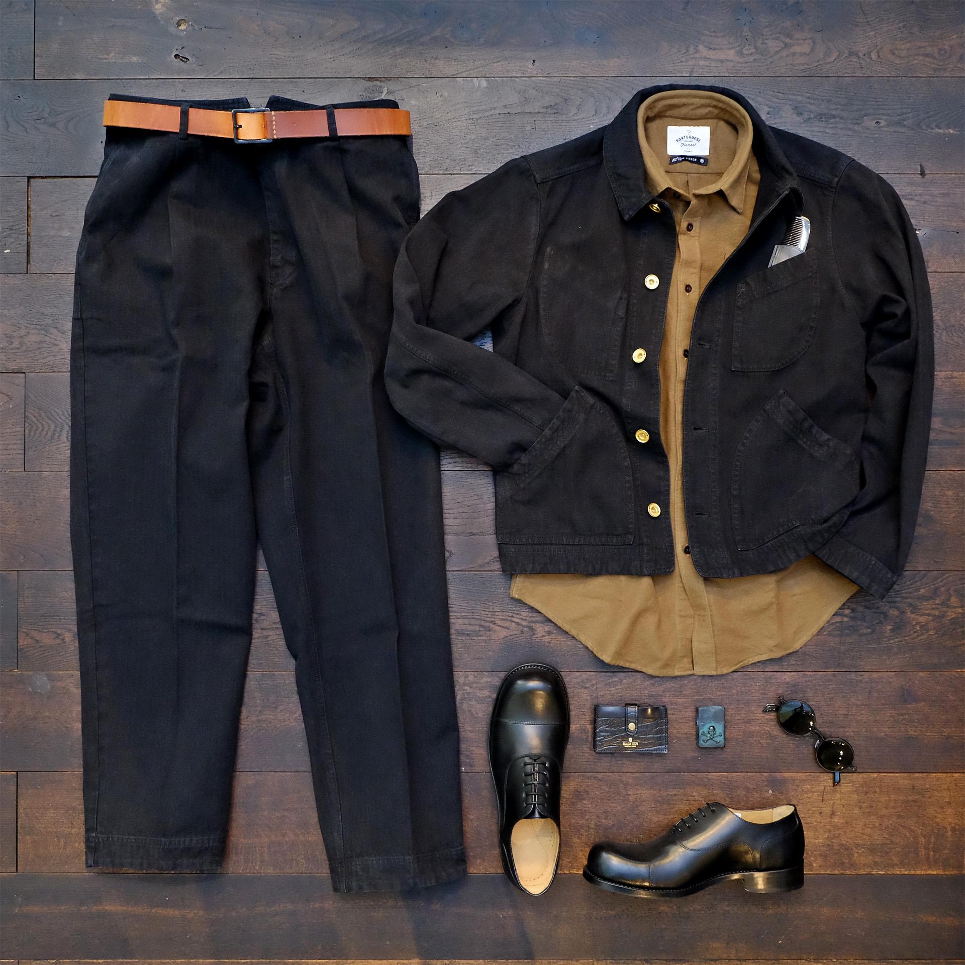 hansen-arbeiter-jacke-hose-schwarz-herringbone-flanellhemd-hobo-shoes-outfitderwoche-blacksign-feinschmuck-tavat