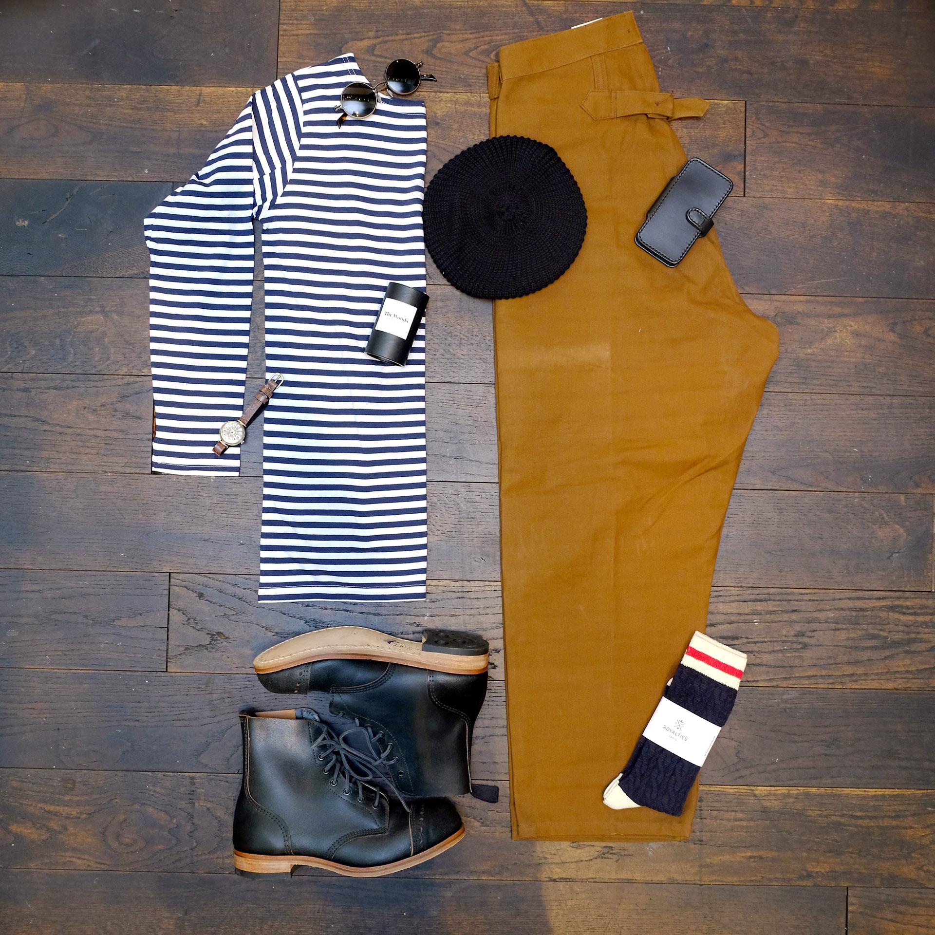 outfit-marineshirt-eisenbahnerhose-interbrigade-derbyboots-blacksign-barett