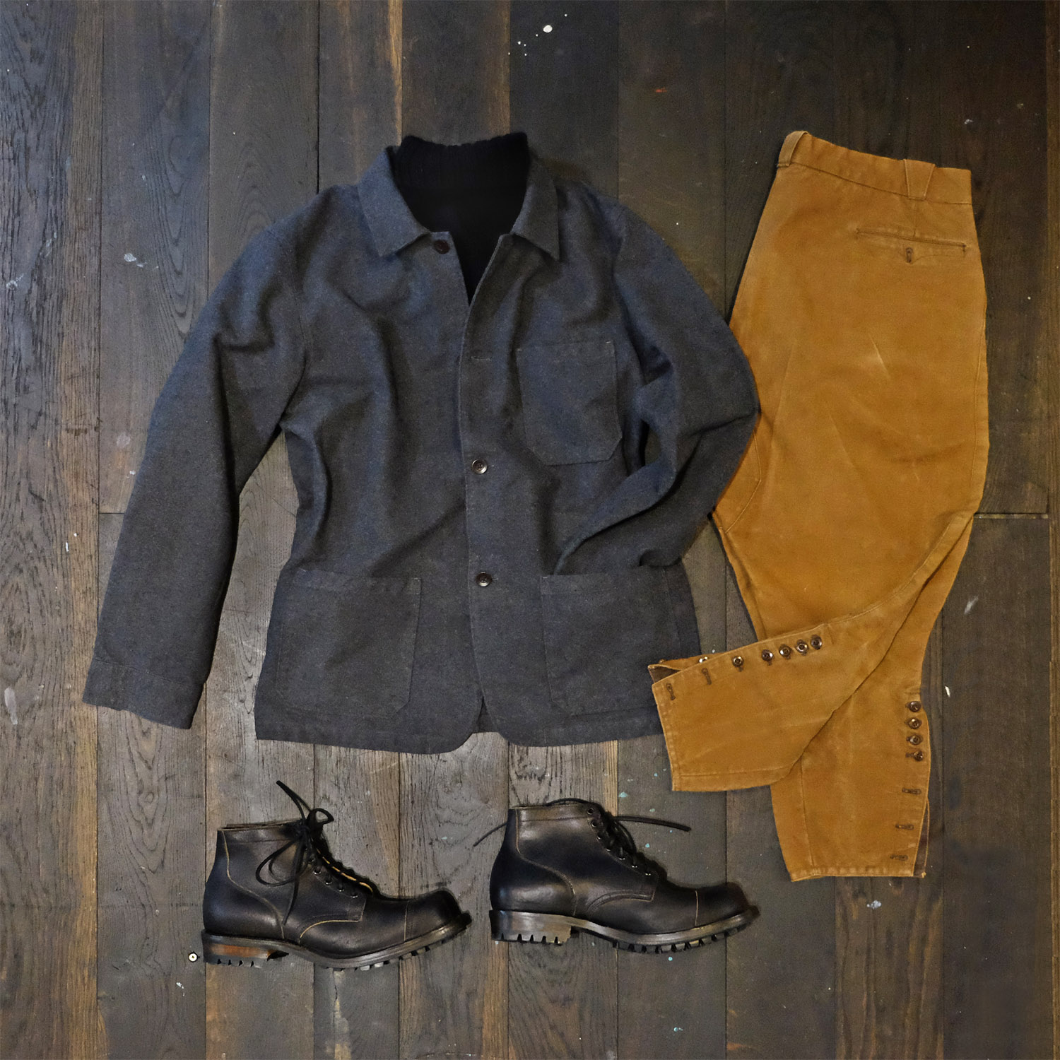 outfit-portugueseflannel-jacke-grau-interbrigade-hannes-pullover-vintage-breeches-viberg-1940-serviceboot-waxflesh