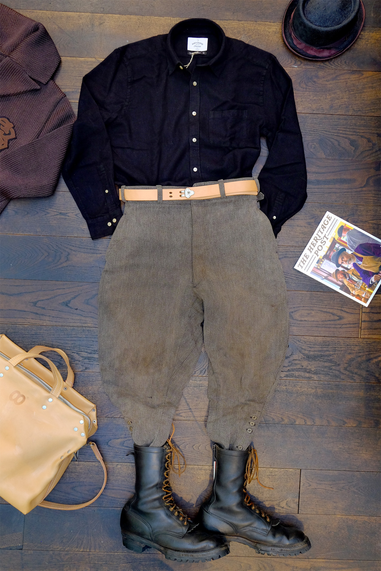 outfit-vintage-breeches-wesco-stiefel-portugueseflannel-hemd-schwarz-theheritagepost-moveroma-buttsandshoulders-blacksign