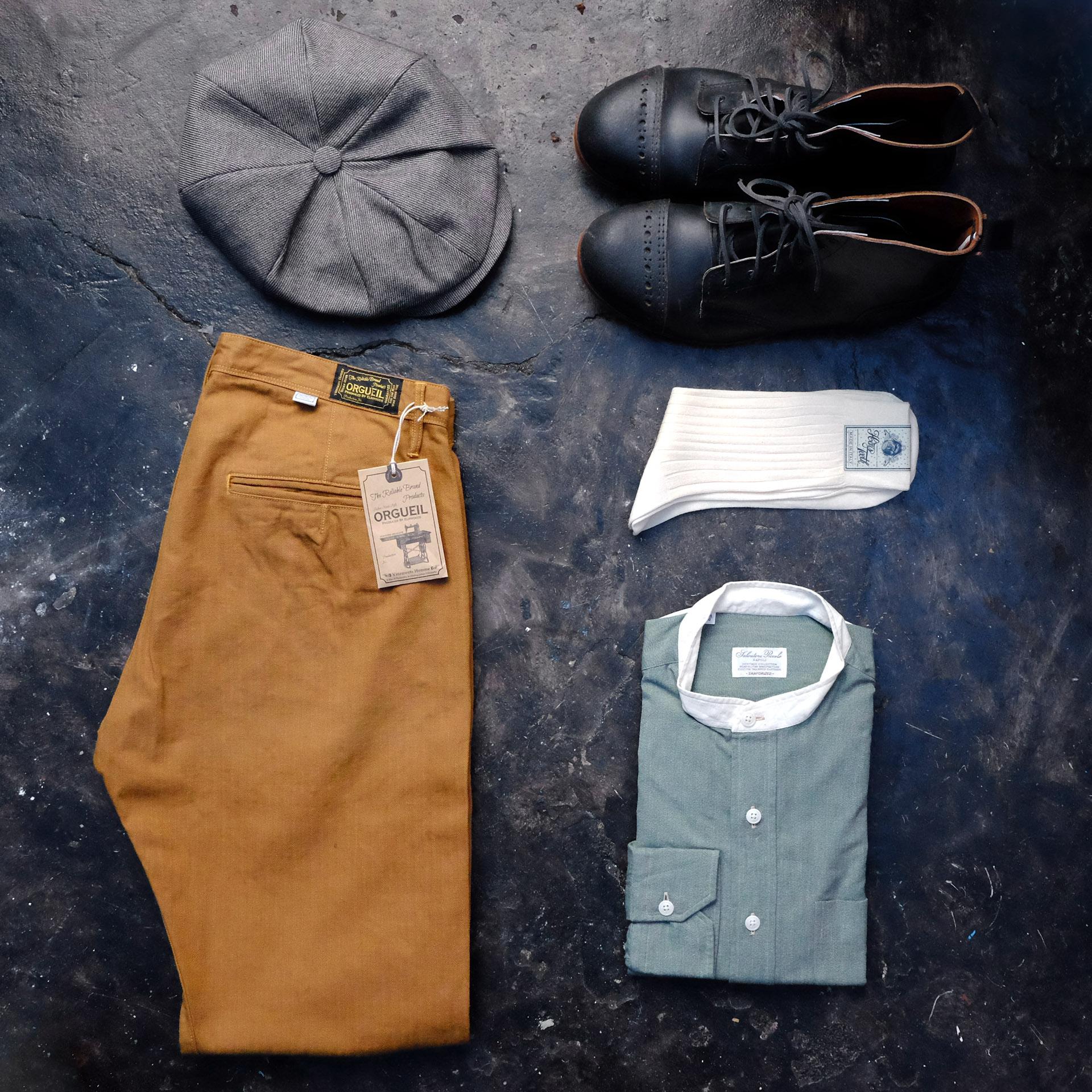 outfit-orgueil-hose-salvatorepiccolo-hemd-hensteeth-socken-diefenthalundsohn-kappe-interbrigade-derbyboots