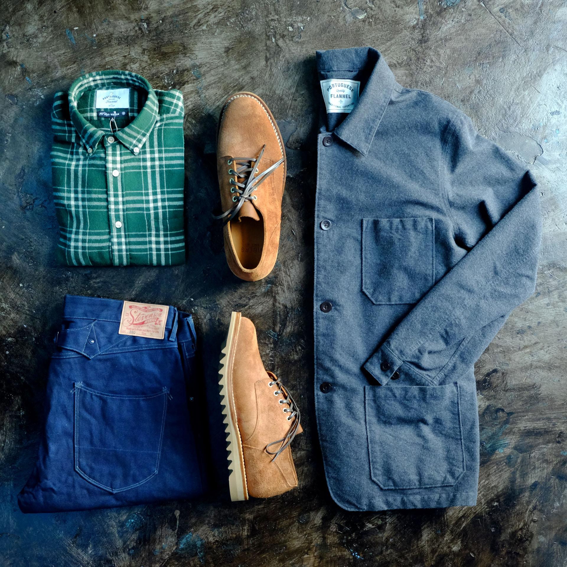 outfit-portugueseflannel-jacke-hemd-karo-duckcanvas-stevenson-overall-hose-viberg-oxford