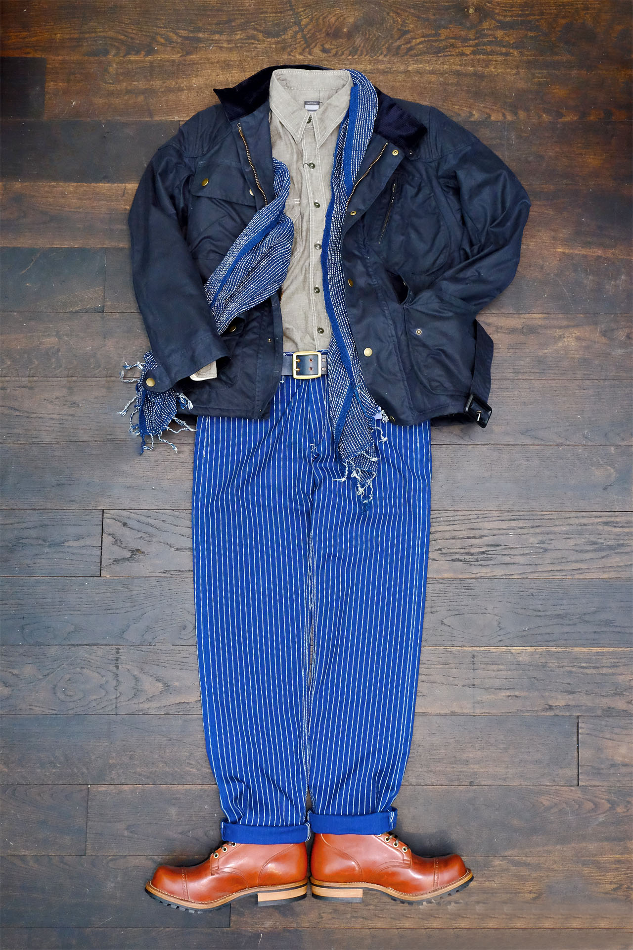 outfit-momotaro-viberg-chicago-tan-timelessleather-chambray-grau-wabash-indigopeople-schal