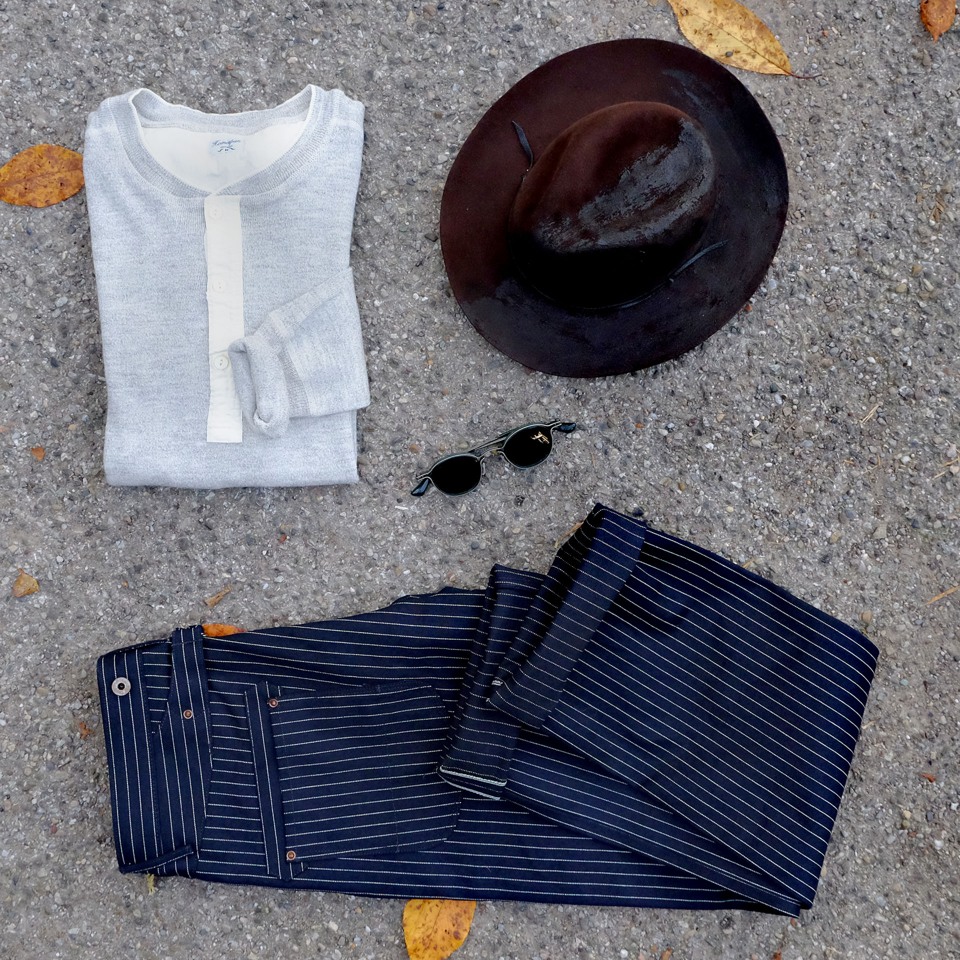 outfit-moveroma-hut-risingsun-blacksmith-jeans-homespun-melange-henley