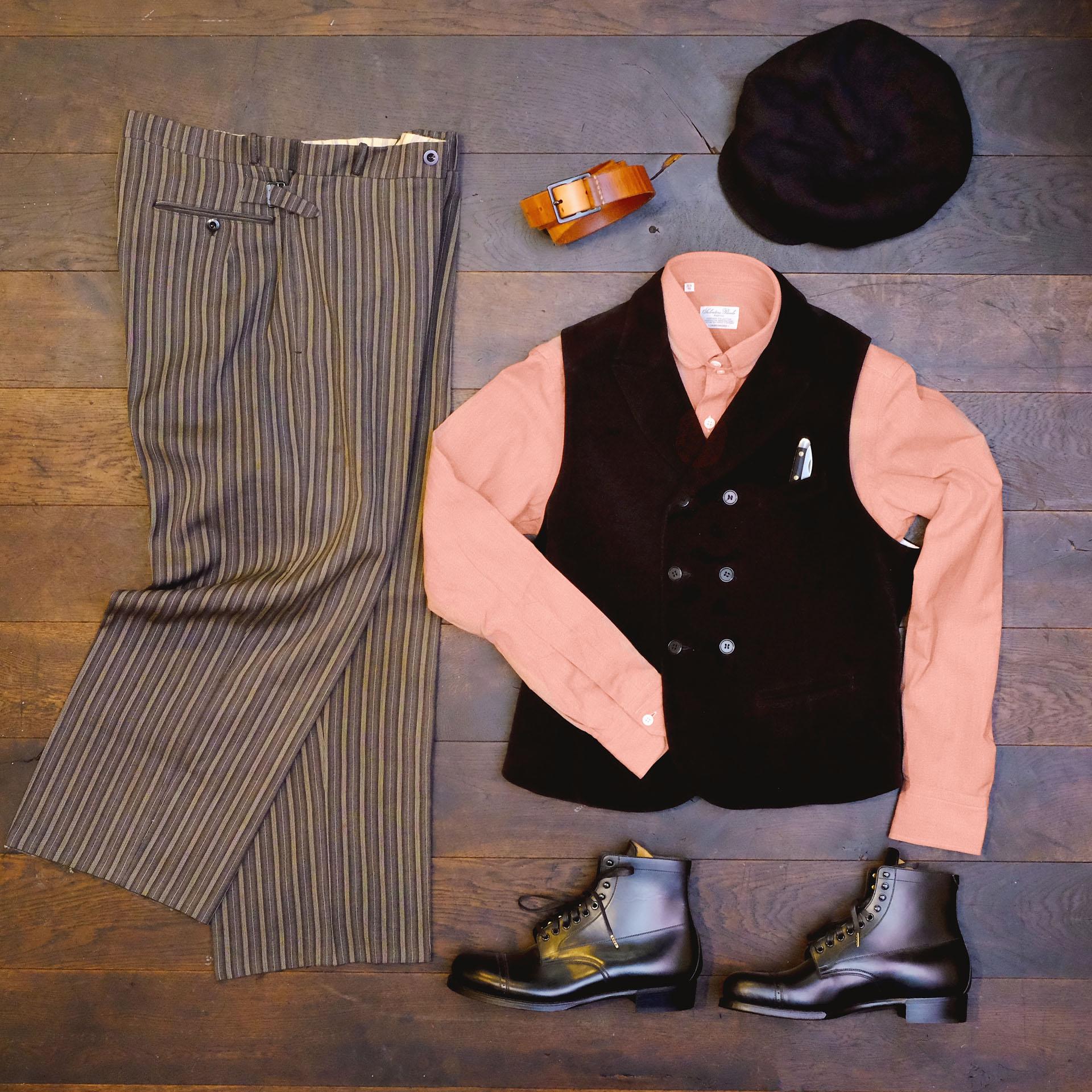 outfitderwoche-vintage-hose-stresemann-streifen-salvatorepiccolo-hemd-interbrigade-weste-moleskin-blacksign-stiefel-ca4la-newsboy-kappe-laguiole