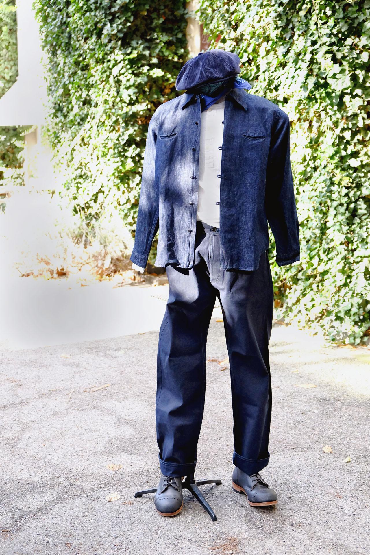 outfit-blacksign-hemd-henley-hensteeth-bandana-ca4la-kappe-kord-stevensonoverall-hose-duckcanvas-interbrigade-derbyboots