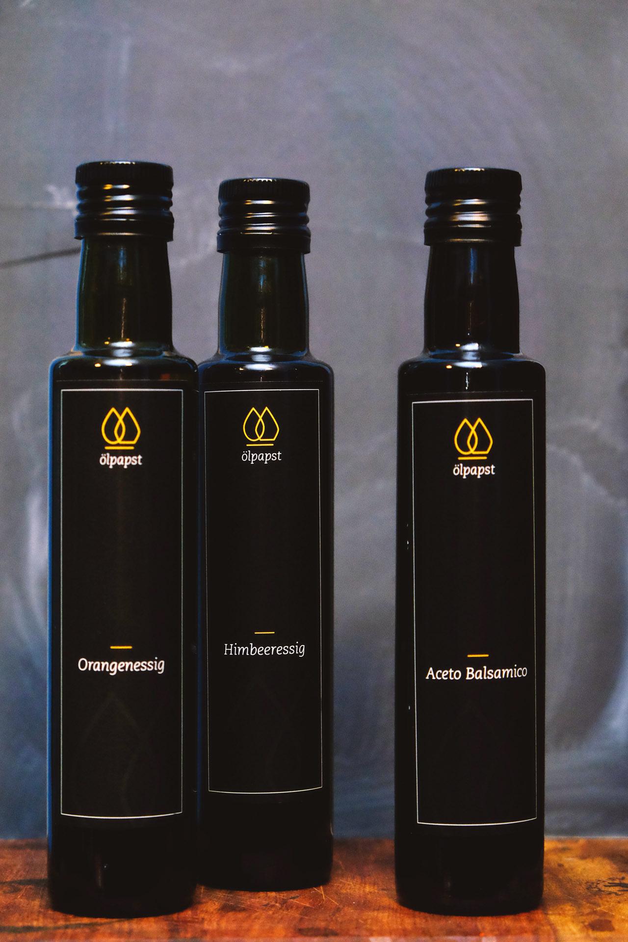 oelpapst-olivenoel-orangenessig-himbeeressig-acetobalsamico