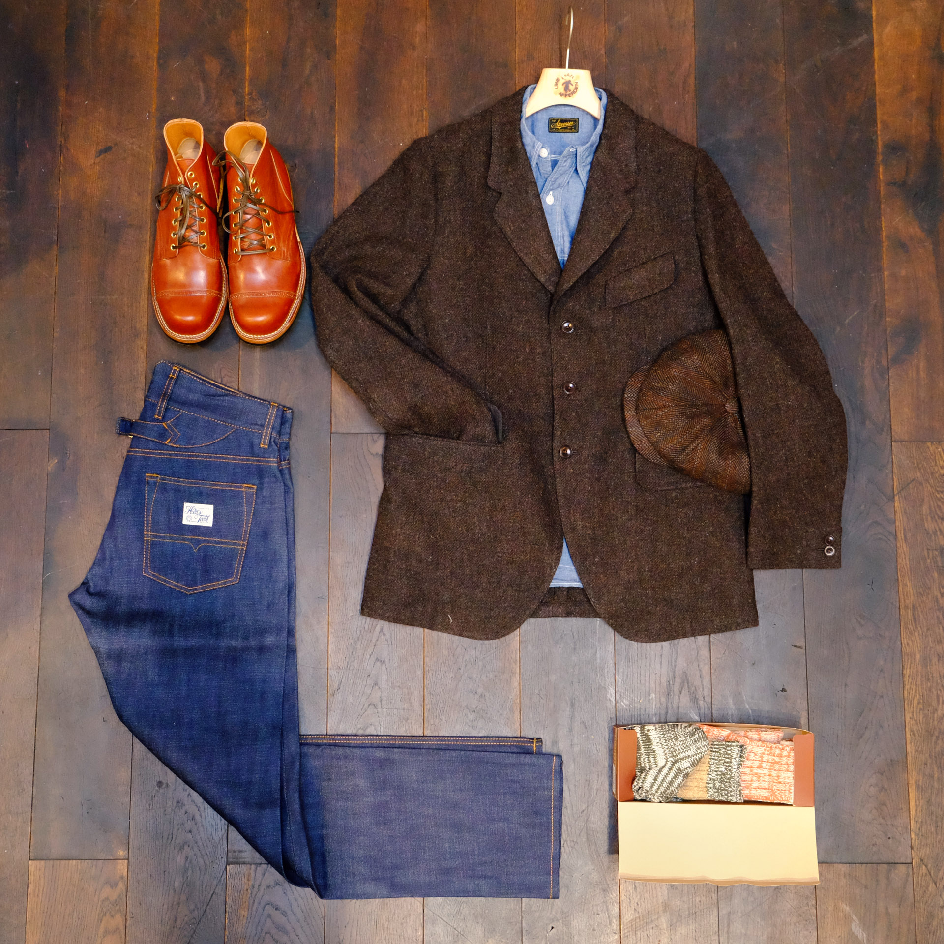outfit-jeans-tweed-vibergboots-kappe-stevensonoverall-chambray-hemd