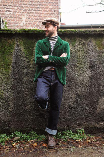 uwevanafferden-sakko-samt-interbrigade-gruen-haversack-pullover-denim-jeans-blacksign