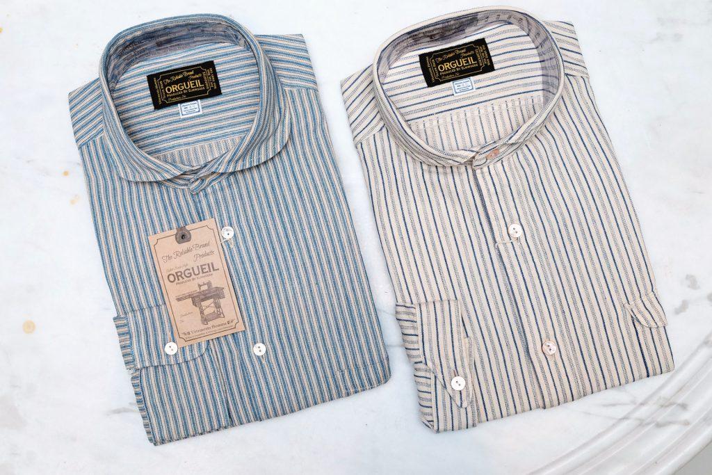20er Jahre, blau, GESTREIFT, hemden, ORGUEIL, Rundkragen