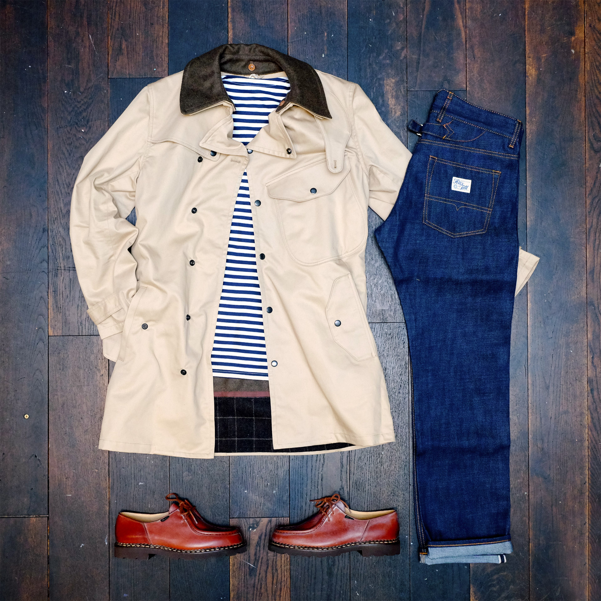 outfit-der-woche-orgueil-mantel-trenchcoat-innenfutter-hens-teeth-jeans-paraboot-stripes