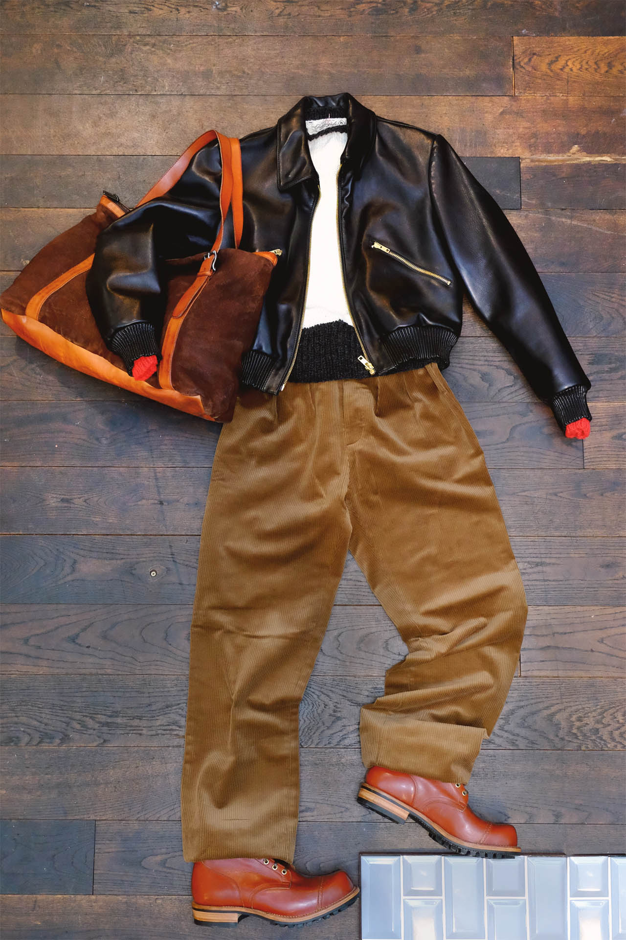 outfit-interbrigade-pullover-strick-lederjacke-kordhose-numero10-tasche-vibergboots-serviceboot