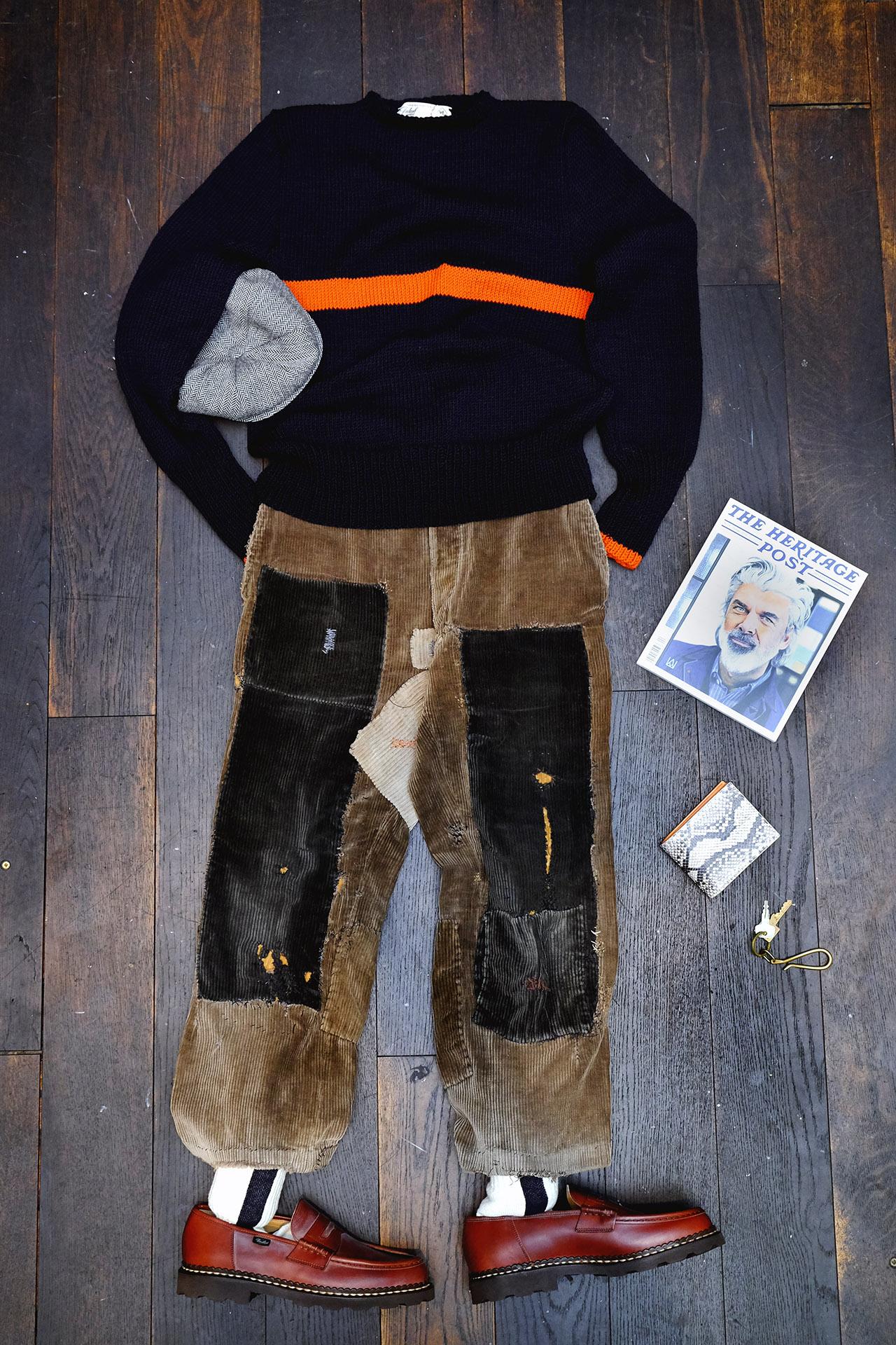 outfit-vintage-kordhose-flicken-interbrigade-pullover-paraboot-pennyloafer-gingi-kappe