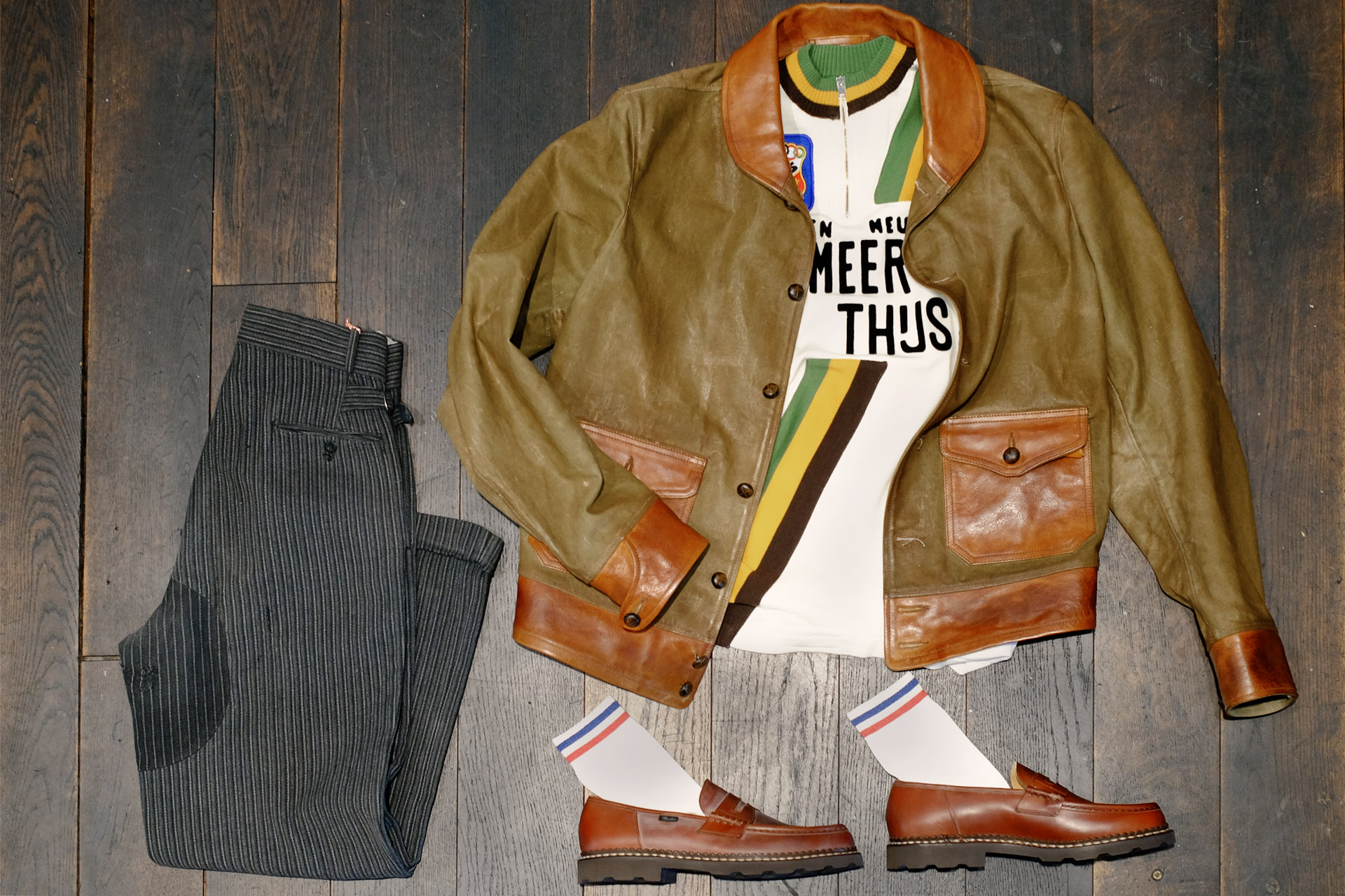 thedi-jacke-canvas-vintage-stresemann-hose-paraboot-pennyloafer-socken-royalties