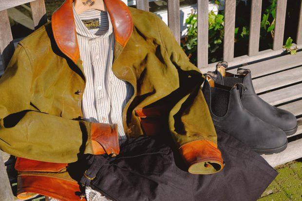 thedi-leathers-jacke-zeltplane-vintage-lederjacke-blundstones-rusticblack-orgueil-hemd-chino-outfitderwoche