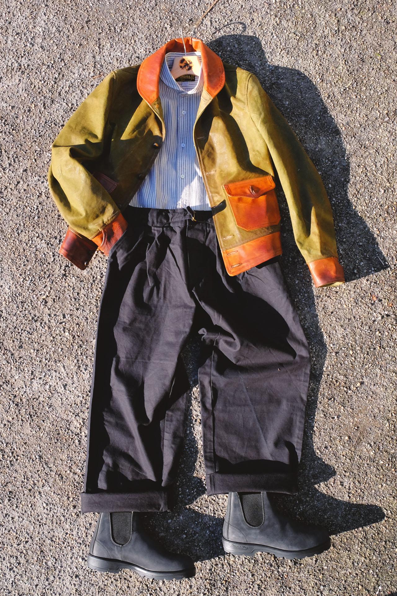 thedi-leathers-jacke-zeltplane-vintage-lederjacke-blundstones-rusticblack-orgueil-hemd-chino
